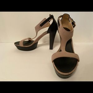 TOD'S SHOES HEELS TAN SUEDE BLACK LEATHER 38 8
